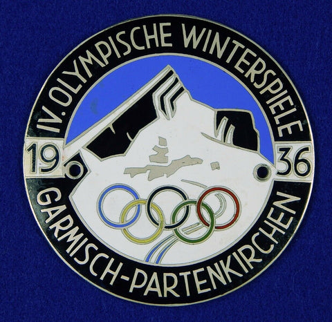 German Germany 1936 Olympic Games Sport Large Enameled Table Medal Badge