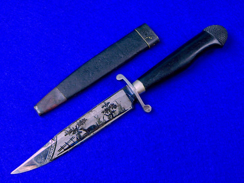 German Germany Antique 19 Century Hunting Engraved Blued Blade Knife w/ Scabbard