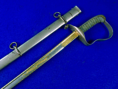German Germany WW1 Damascus Blade Presentation Engraved Officer's Sword Scabbard