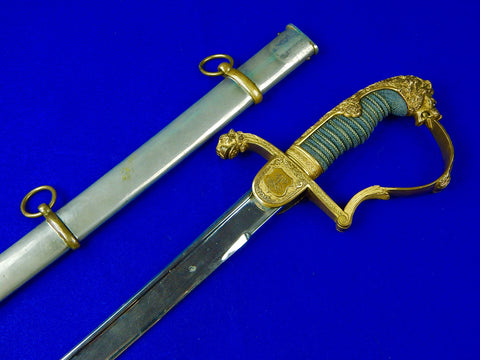 German Germany WW1 Grosser Lion Head Artillery Sword with Scabbard