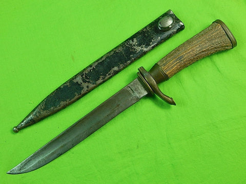German Germany WW2 Fighting Hunting Stag Sword Blade Knife & Scabbard
