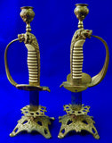German Germany WWI WW1 Set of 2 Candle Holder Made From Navy Sword Handle