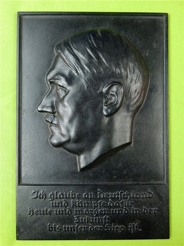 German Nazi WW2 Bronze Marked Hitler Wall Plaque