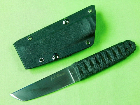 Custom Hand Made J.L. Haynes Tanto Fighting Knife & Scabbard