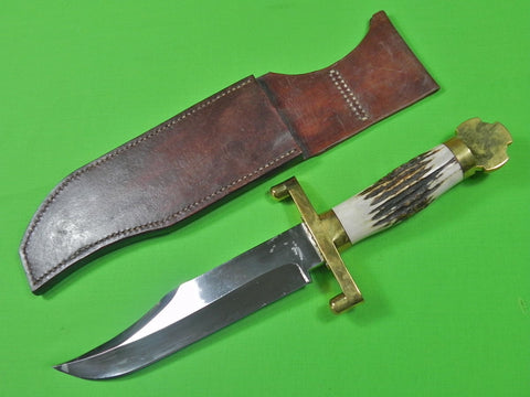 Custom Hand Made by T.W. DOWNING Huge Heavy Bowie Hunting Knife Dagger & Sheath