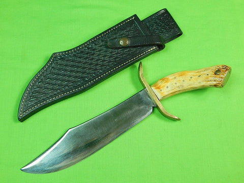 Vintage Custom Hand Made Huge Stag Bowie Fighting Knife & Sheath