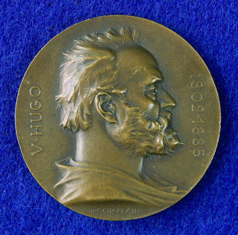 French France Art 1802-1902 V. Hugo Chaplain Signed Bronze Table Medal