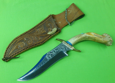Custom Made Indian American Cowboy Style Huge Bowie Engraved Hunting Stag Knife