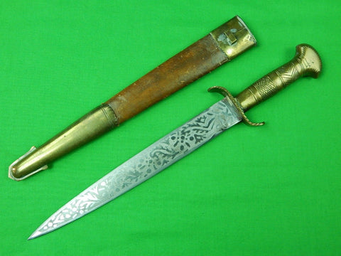 Vintage Indo-Persian Middle East Afghani Engraved Fighting Knife Dagger Kindjal
