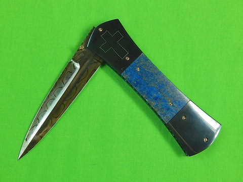 Custom Hand Made by JOHN ETZLER Damascus & Lapis Lazuli Folding Pocket Knife