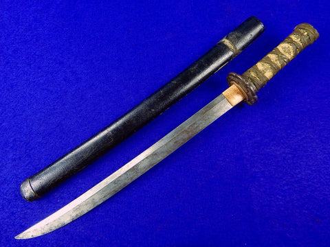 Antique Old Japanese Japan Wakizashi Short Sword Swords Tanto Fighting Knife Knives w/ Scabbard