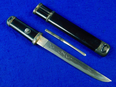 Antique Japanese Japan Horimono Signed Blade Sterling Silver Tanto Knife