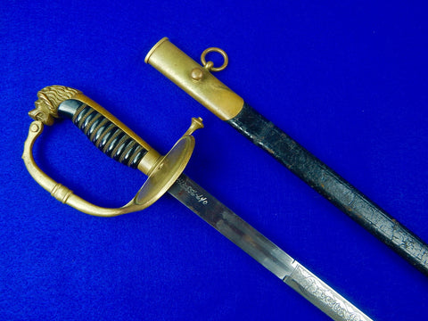 Japanese Japan WW1 German Made Possibly Diplomatic Lion Head Sword w/ Scabbard