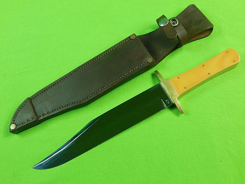 US Custom Hand Made RK Marked Large Hunting Fighting Knife & Sheath