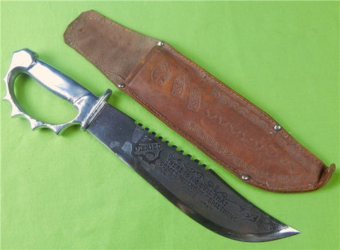 Mexican Saw Back Engraved Knuckle Fighting Knife