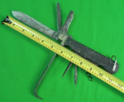 Antique 1800's J. NOWILL English British Horseman Multi Blade Huge Folding Knife
