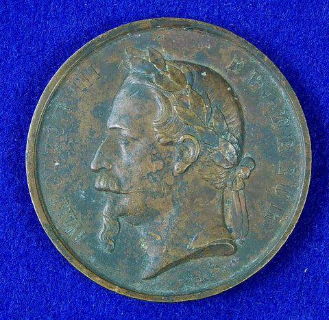 Antique French France Bronze 1868 19 Century Napoleon III Table Medal
