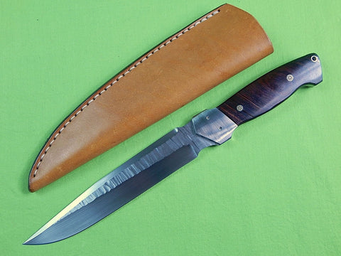 US Custom Hand Made RON WALLER Large Hunting Fighting Knife & D Long Sheath