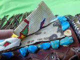 RARE Custom Hand Made George HALE Bowie HUGE Stag Silver Turquoise Knife Beaded