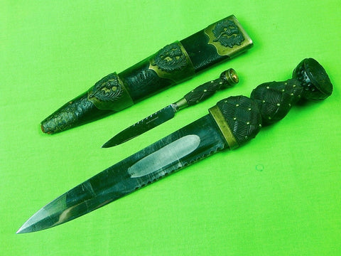 Antique 19C Richardson Scotland Scottish Sgian Dubh Dirk Dagger & Scabbard Knife