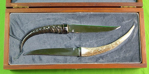 Vintage 1993 Custom Hand Made Marked Set of 2 Hunting Fighting Stag Knife & Box