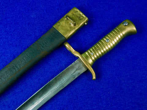 RARE South American Antique pre WW1 Bayonet Knife w/ Scabbard