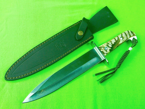Vintage Spain Spanish Made Hen & Rooster Large Fighting Hunting Knife & Sheath