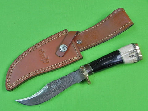 Spanish Spain Custom Handmade FELIX FRANCISCO Damascus Hunting Skinning Knife & Sheath