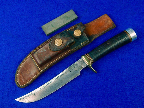 1950s Custom Handmade RANDALL Model 4 6 Hunting Knife Brown Button Sheath Stone