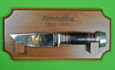 US 1991 REMINGTON 175 Anniversary Commemorative Hunting Fighting Knife & Display