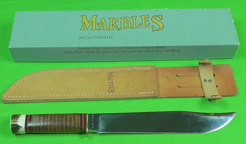 Vintage US 1992 BENCHMADE MARBLES M.S.A. Huge Hunting Knife w/ Sheath Box