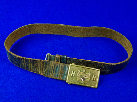 US Antique 19 Century Pre WW1 Military Leather Belt & Buckle