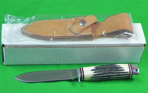 US BLACK RIVER Escanaba MI 1 Production Run Hunting Stag Knife W/ Sheath Box