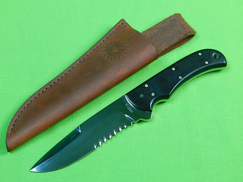 US Custom Hand Made MIKE MICHAEL LEACH Hunting Knife & Sheath