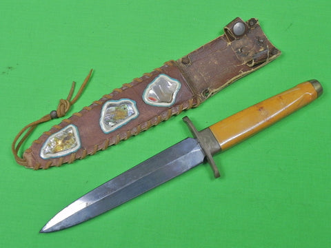 Vintage US Custom Hand Made Stiletto Fighting Knife & Sheath