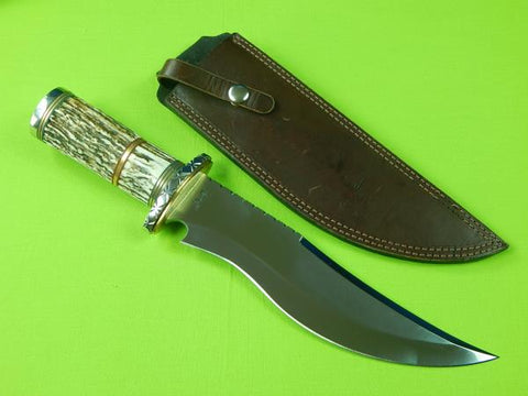 US Custom Handmade JACK RUSSELL Large Stag Bowie Engraved Fighting Knife Sheath