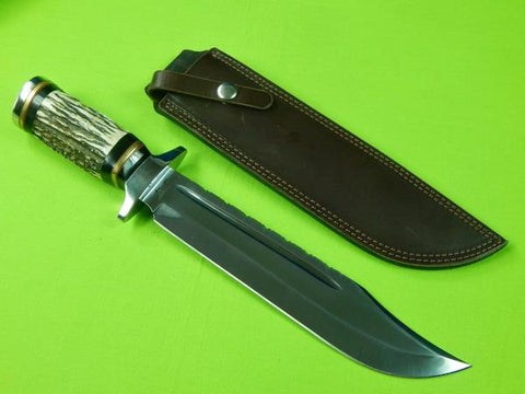 US Custom Handmade JACK RUSSELL Large Stag Bowie Fighting Knife w/ Sheath