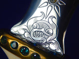 US Custom Hand Made Large WADE CHASTAIN Bejeweled Engraved Knife Dagger