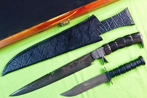 US Custom Hand Made Norman P. BARDSLEY Huge Damascus Fighting Knife & Sheath Box
