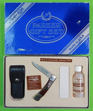 US Parker Cutlery Eagle Brand Gift Set Folding Pocket Knife Sheath Oil Sharpener