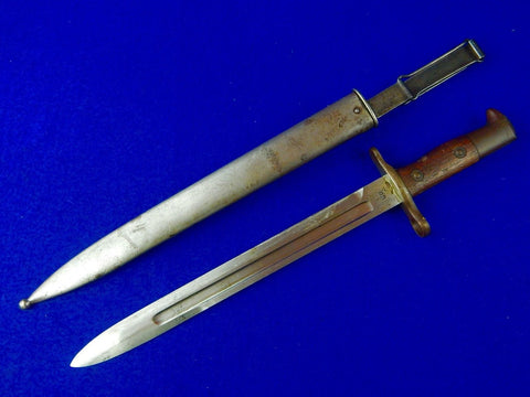US Spanish American War 1899 Krag Bayonet Fighting Knife with Scabbard