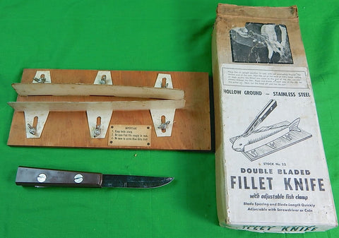 US Toledo 1967 Hollow Ground Double Blade Fish Fillet Knife w/ Rack Box