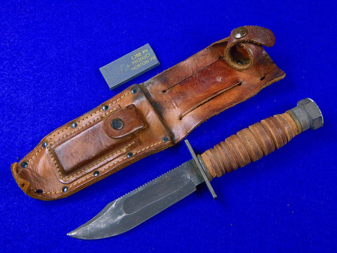 US Vietnam Era Camillus Jet Pilot Survival Fighting Knife Sheath Stone
