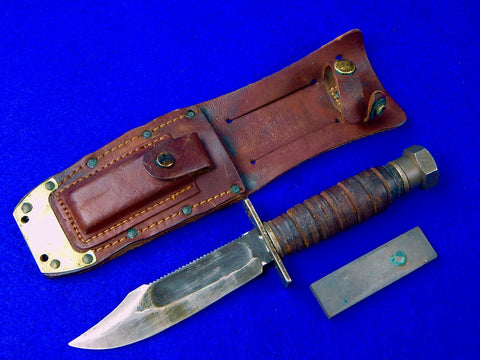 US Vietnam Era 1971 Camillus Jet Pilot Survival Fighting Knife with Sheath Stone