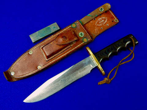 US Vietnam Era Custom Handmade RANDALL Fighting Knife w/ Split Back Sheath Stone