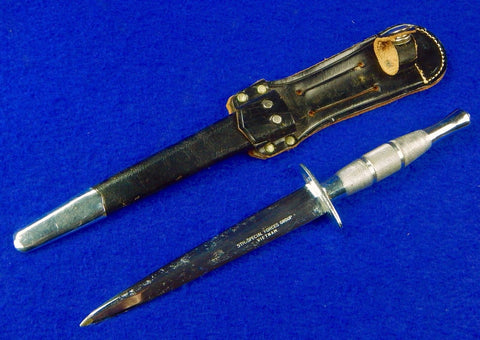 US Vietnam Era Japan Sword Made Presentation Stiletto Fighting Knife w/ Sheath