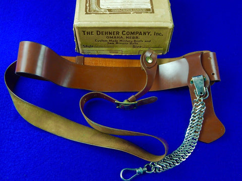 US WW1 Officer's Military Belt with Buckle & Sword Hanger with Shipping Box