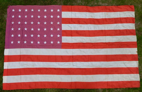 US USA American Vintage WW2 1942 Dated 48 Stars Large Silk Flag