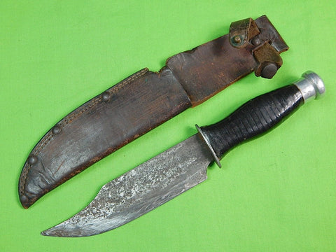 US WW2 Theater Custom Hand Made Bowie Style Fighting Knife & Sheath A26