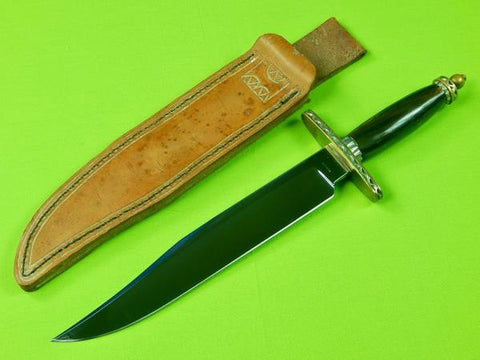Vintage US Custom Handmade by MIKE MANROW Large Bowie Fighting Knife w/ Sheath